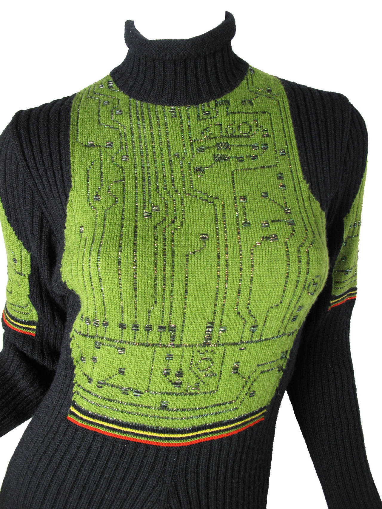 1990s Jean Paul Gaultier black wool knit dress with circuit board pattern.  Condition: Excellent.   31