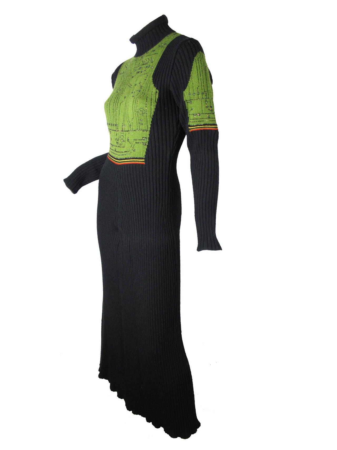 Black Jean Paul Gaultier Knit Circuit Board Dress, 1990s   For Sale