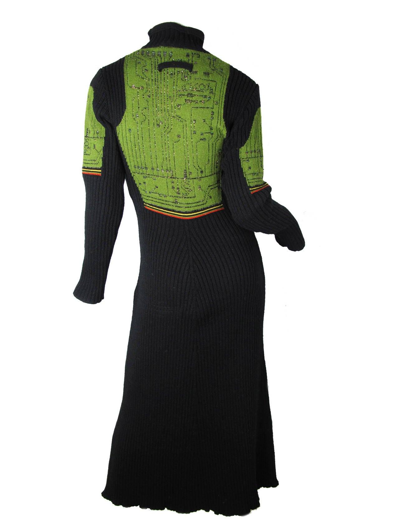 Women's Jean Paul Gaultier Knit Circuit Board Dress, 1990s   For Sale