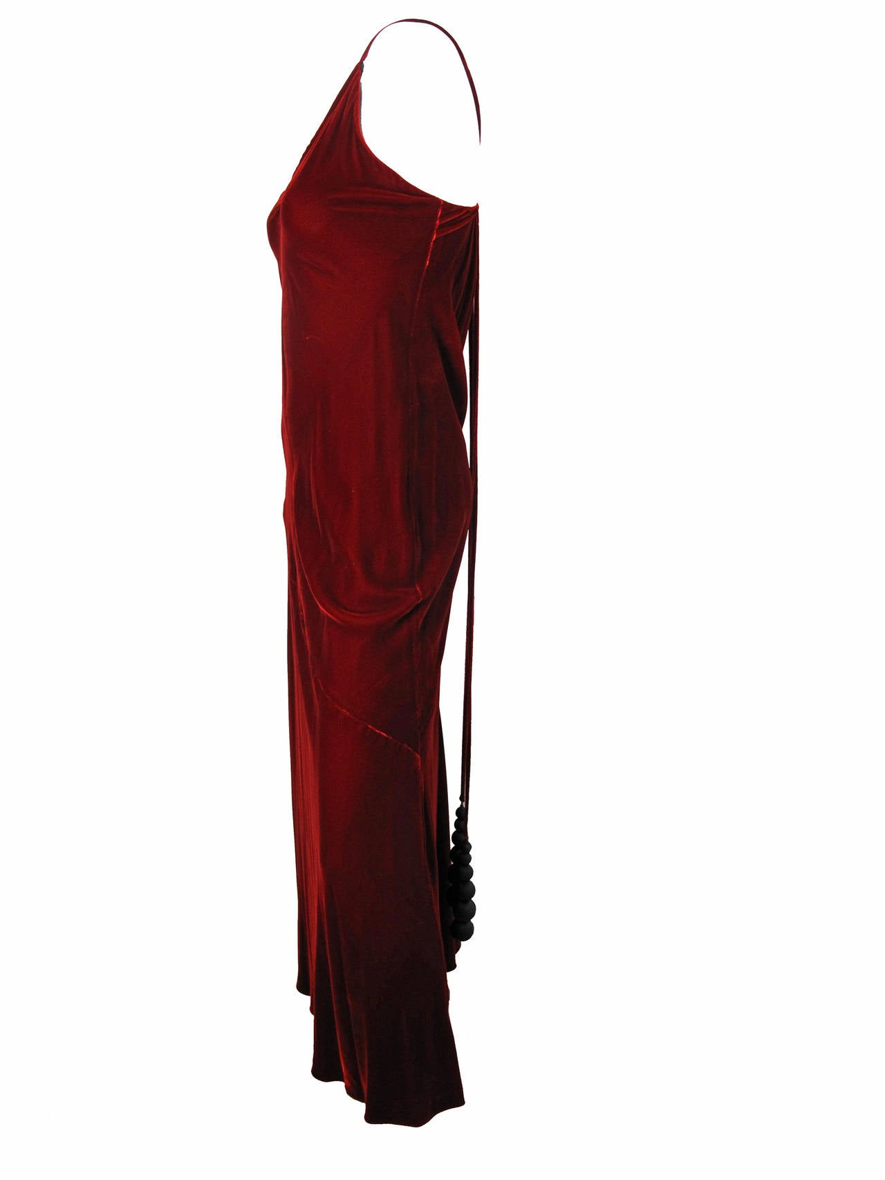 1990s Jean Paul Gaultier Velvet Gown with Large Fabric Beads 3