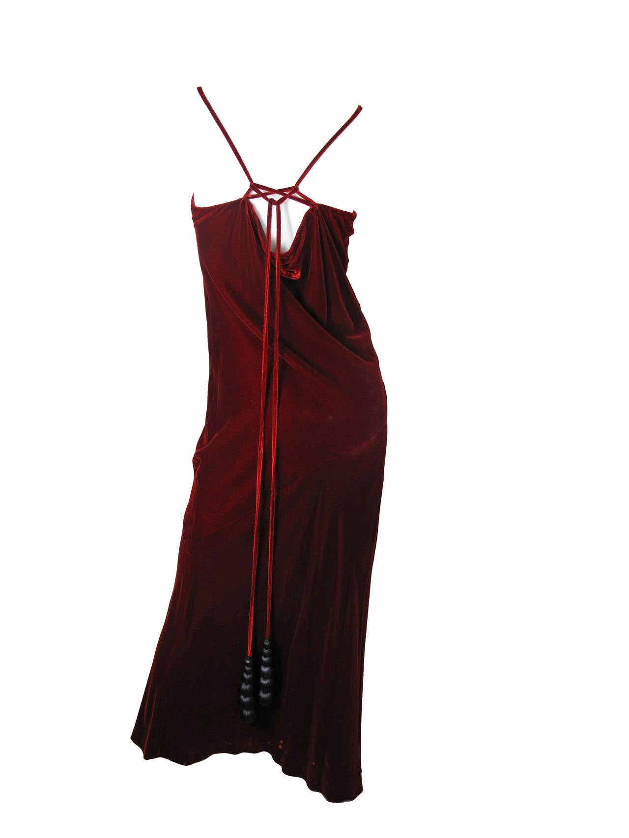 1990s Jean Paul Gaultier Velvet Gown with Large Fabric Beads 4