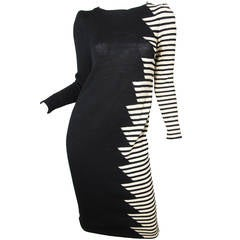 Adolfo wool zig zag dress