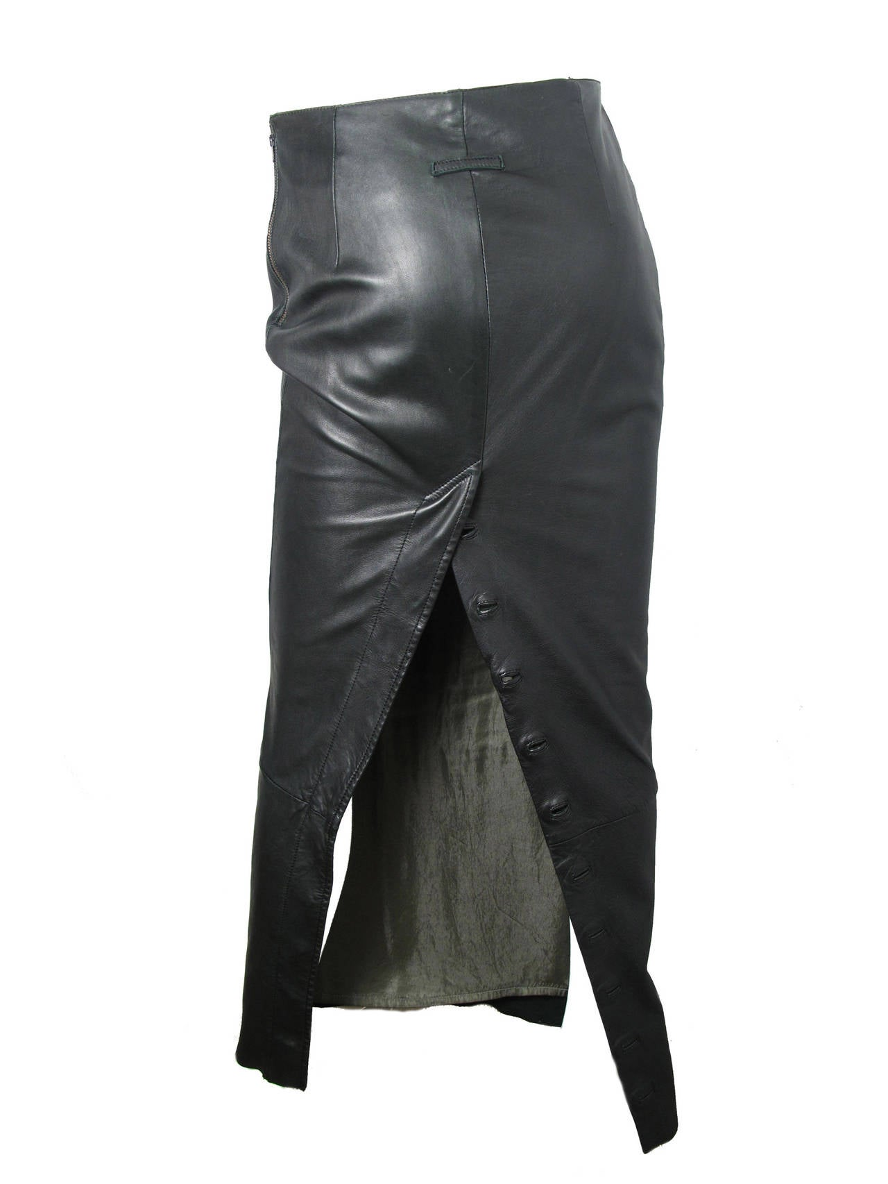 1990s Jean Paul Gaultier Long Ankle Length Leather Skirt at 1stdibs