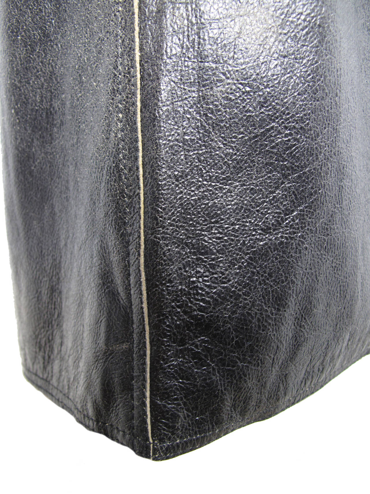 Jean Paul Gaultier Distressed Leather Skirt 2