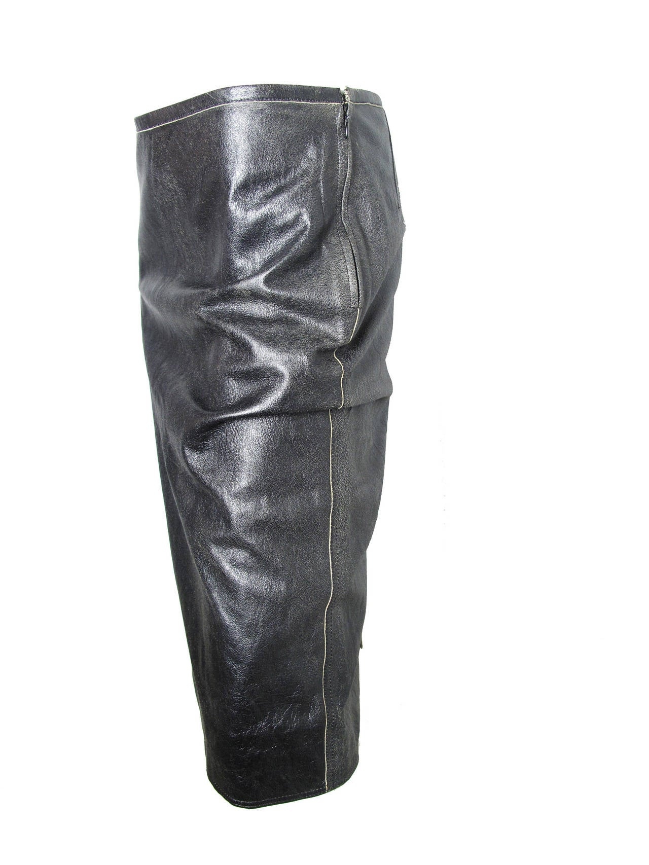 Jean Paul Gaultier Distressed Leather Skirt 3