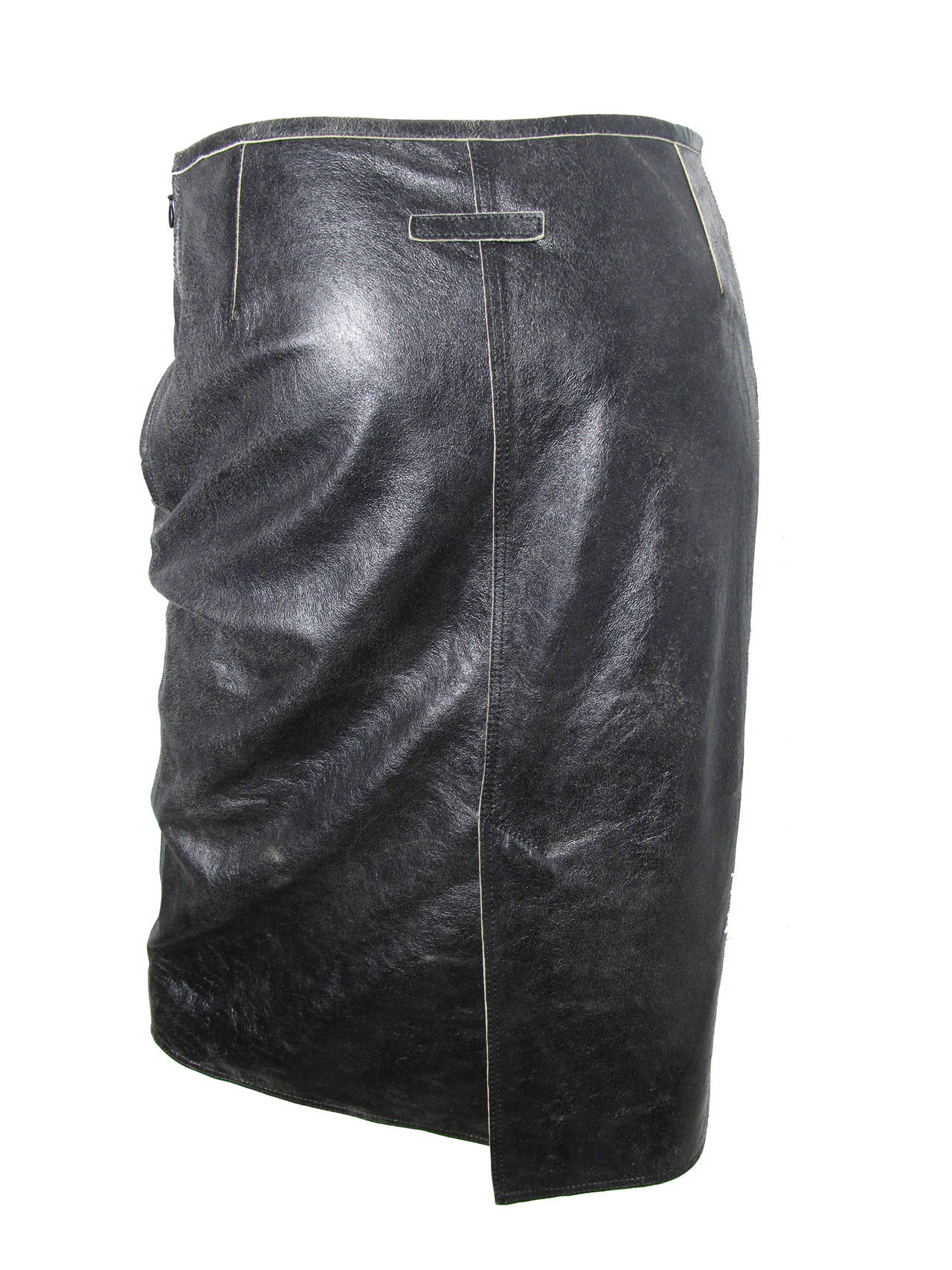 Jean Paul Gaultier Distressed Leather Skirt 4
