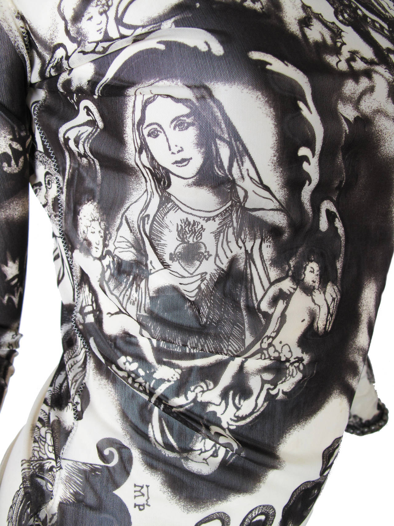 Jean Paul Gaultier Sheer Printed Mesh Top with Metal Studs 4