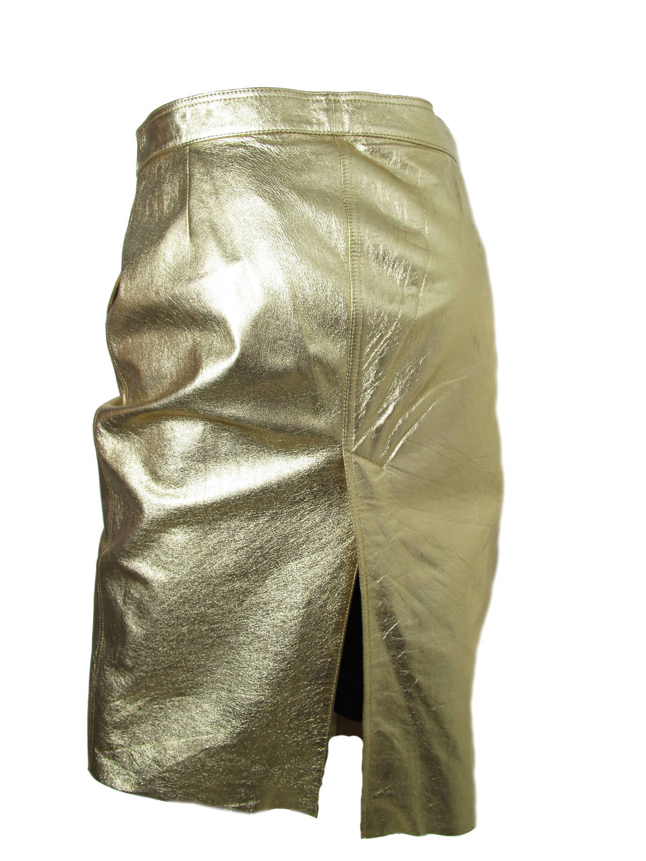 Moschino Gold Metallic Leather Skirt In Excellent Condition For Sale In Austin, TX