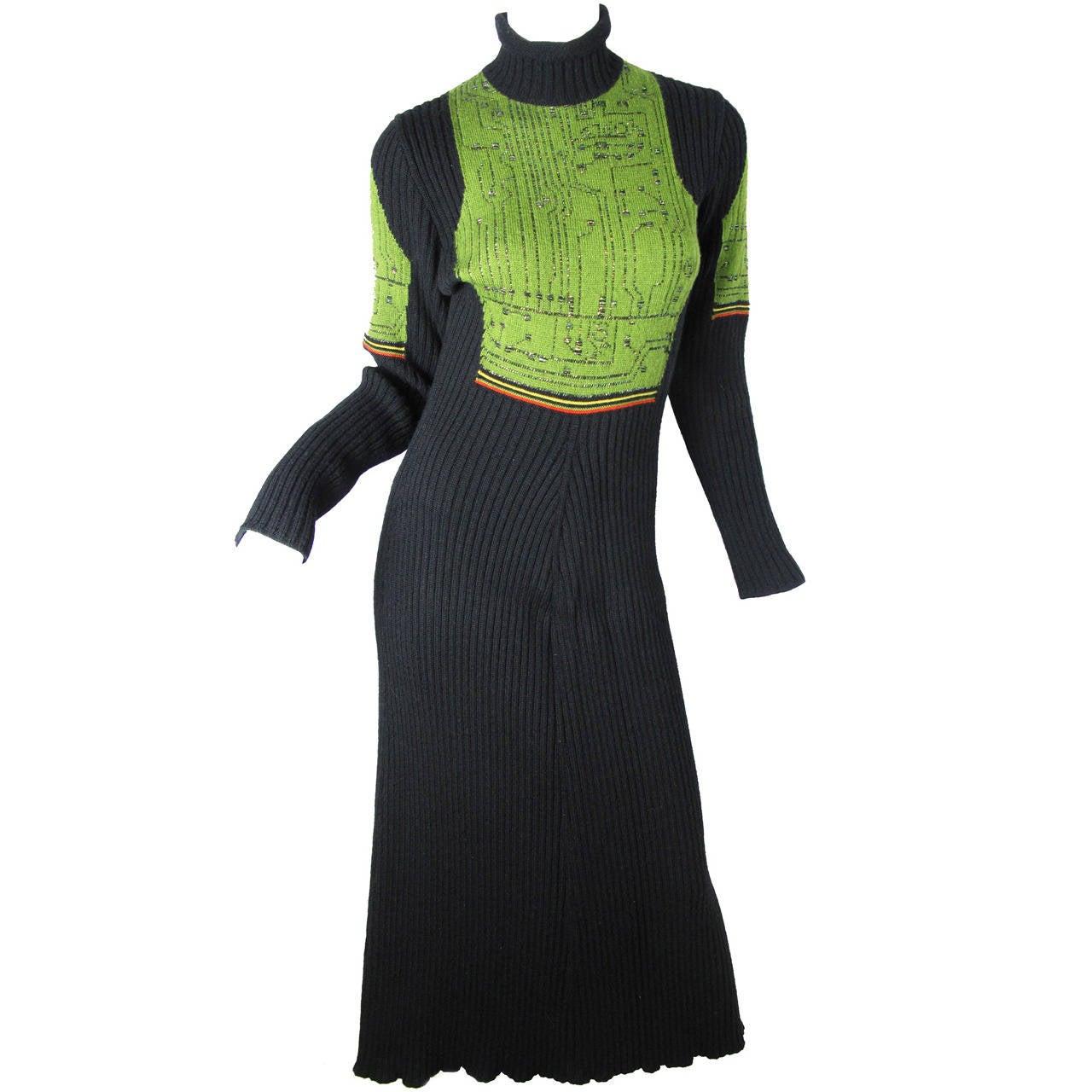 Jean Paul Gaultier Knit Circuit Board Dress, 1990s   For Sale