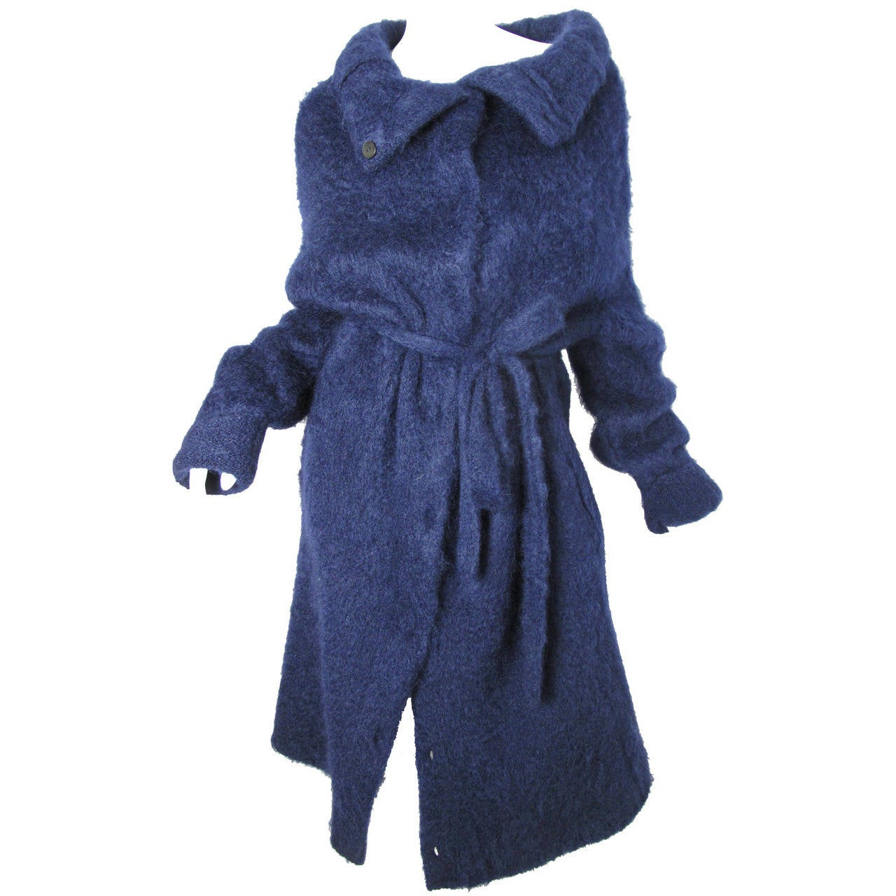 Martin Margiela Navy Blue Mohair Oversized Sweater Coat - Never ...