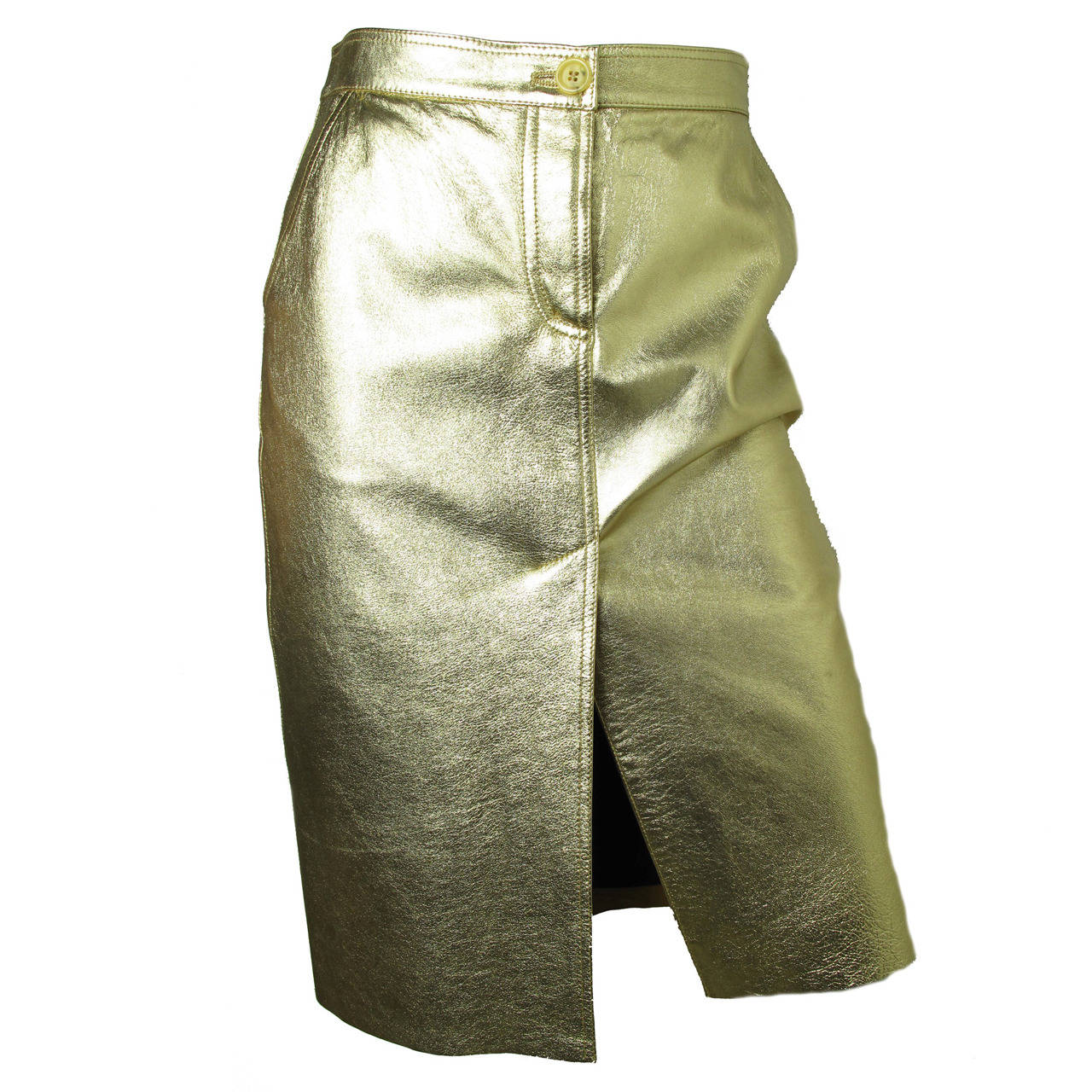 Moschino Gold Metallic Leather Skirt For Sale