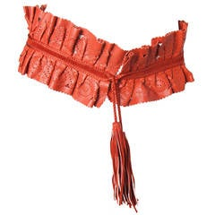 Claude Montana Red Leather Waist Belt
