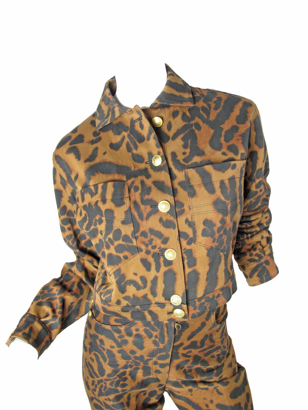 1992 Gianni Versace Leopard Denim Jacket and Jeans 2