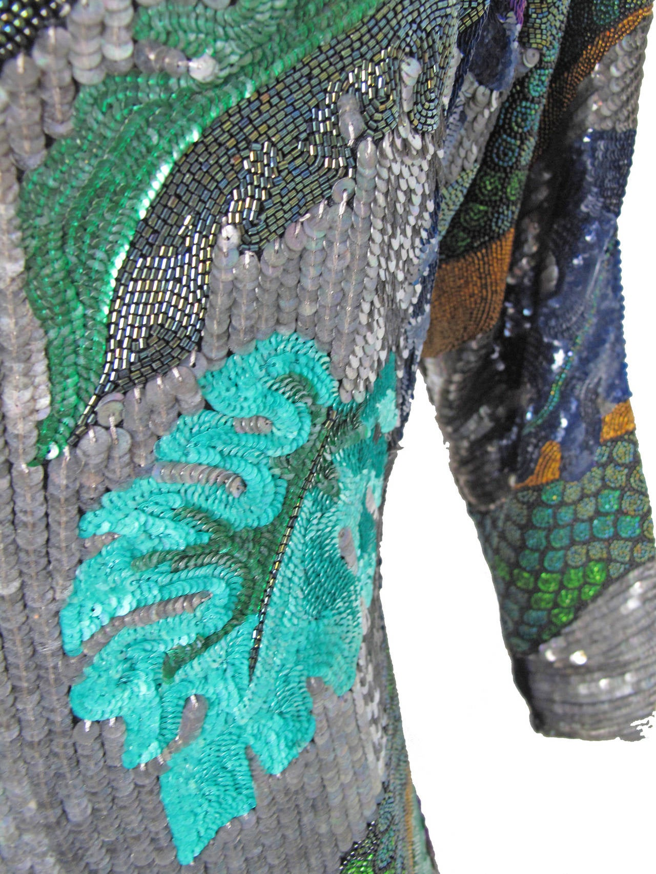 Gray Rare beaded and sequin Krizia Snake Dress  - sale For Sale