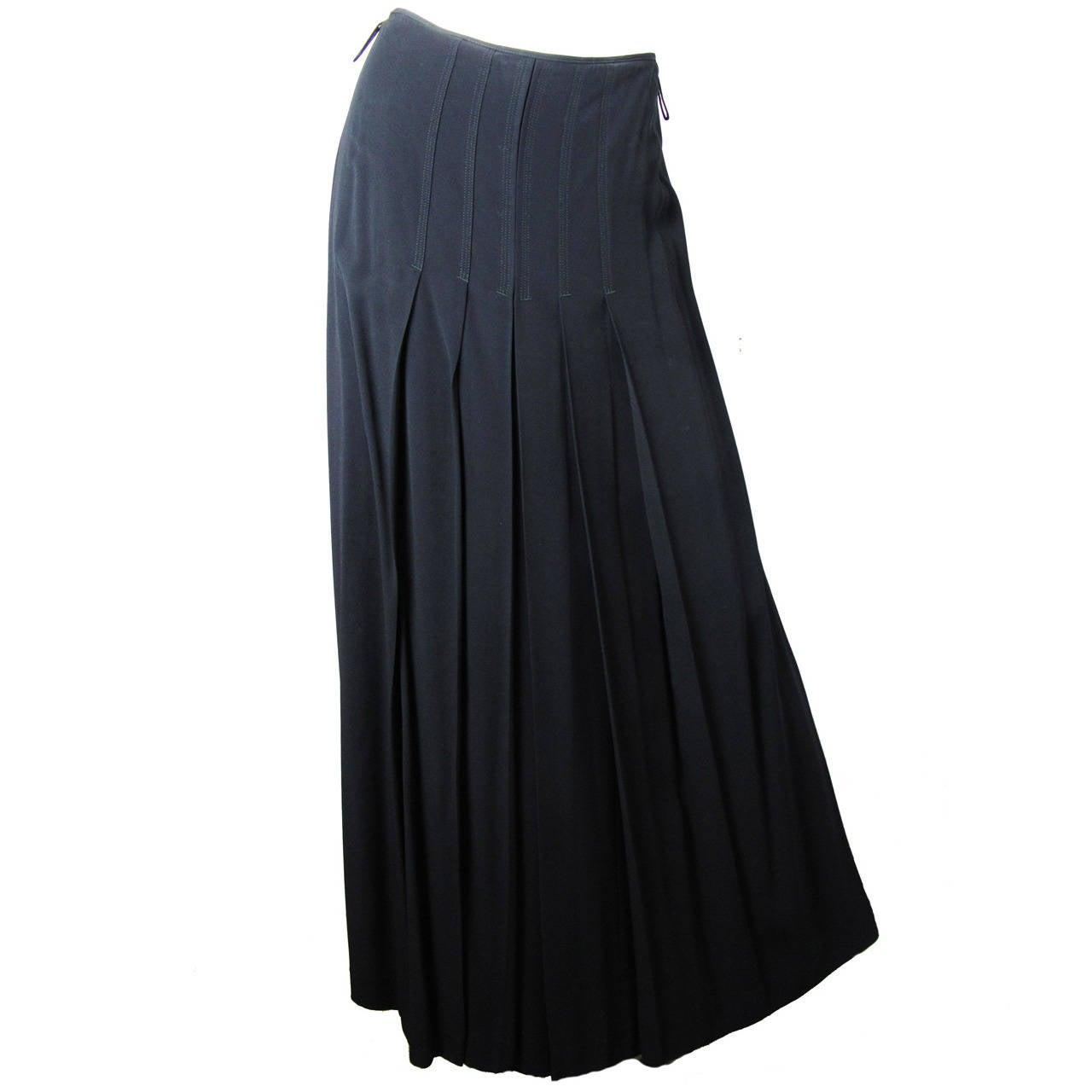 Jean Paul Gaultier Black Pleated Ankle Length Evening Skirt