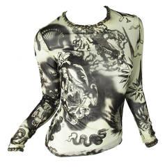 Jean Paul Gaultier Sheer Printed Mesh Top with Metal Studs