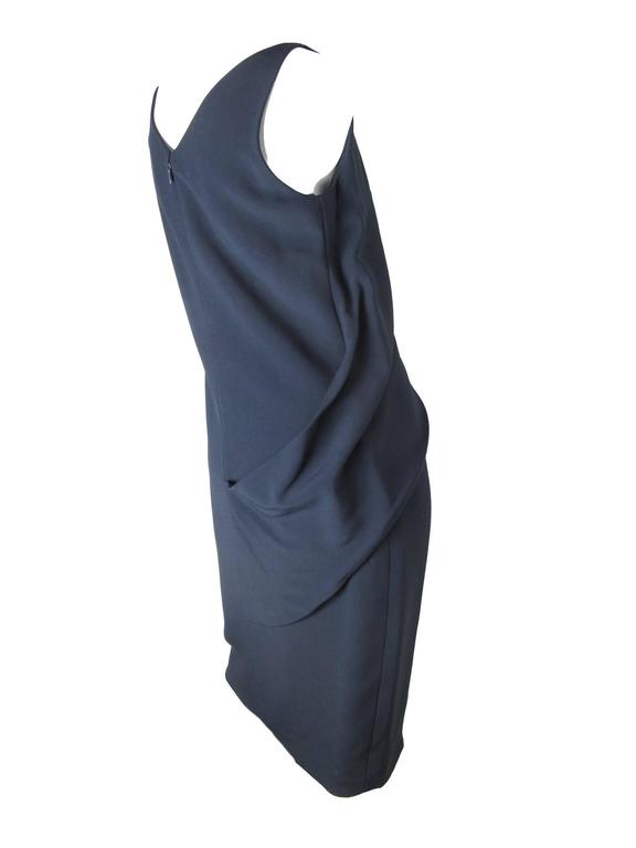 """Balenciaga """"Le Dix"""" navy dress, sleeveless. Silk lined, Acetate and Viscose fabric. Size 42 / US 8 ( mannequin is a size 6 )  34"""" bust, 35"""" waist, 40"""" length.  We accept returns for refund, please see our terms.  We offer free"""