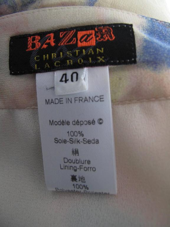 Christian Lacroix Silk Pastel Watercolor Skirt In Excellent Condition For Sale In Austin, TX