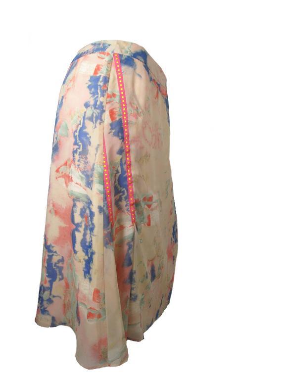 Beige Christian Lacroix Silk Pastel Watercolor Skirt For Sale