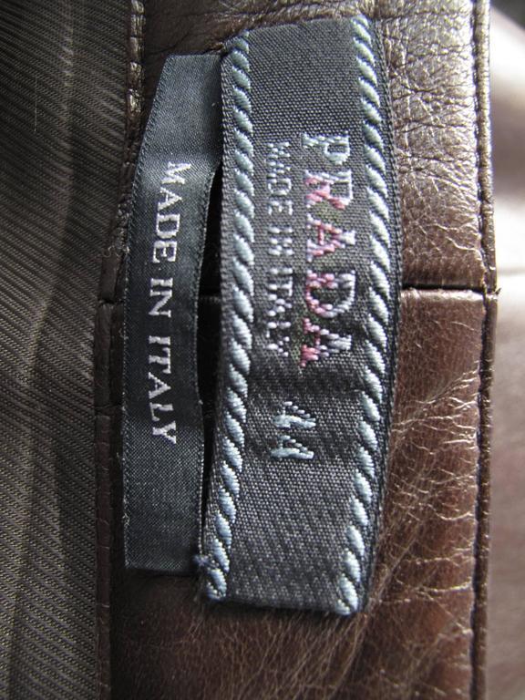 Prada Brown Leather Skirt 9