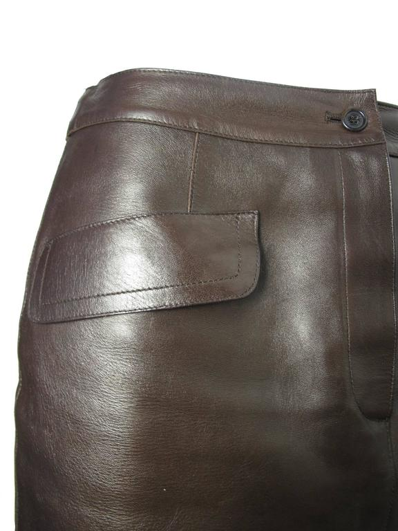 Prada Brown Leather Skirt In Good Condition For Sale In Austin, TX