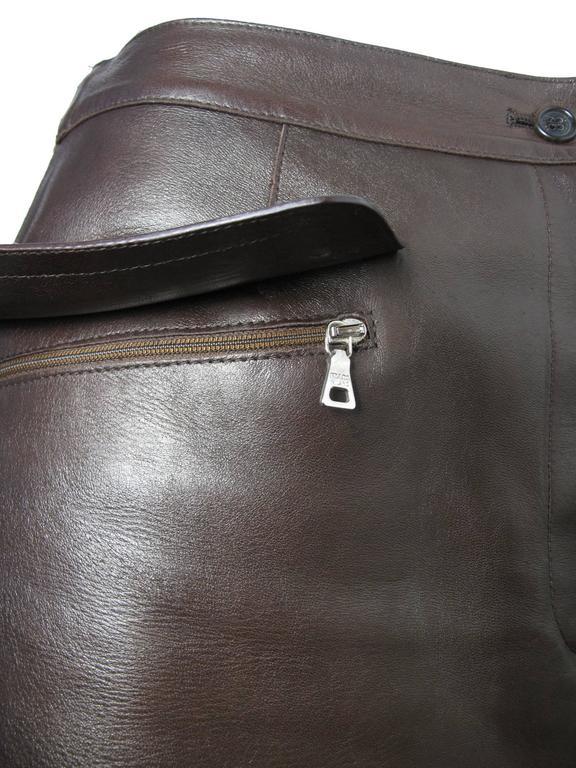 Prada Brown Leather Skirt 3