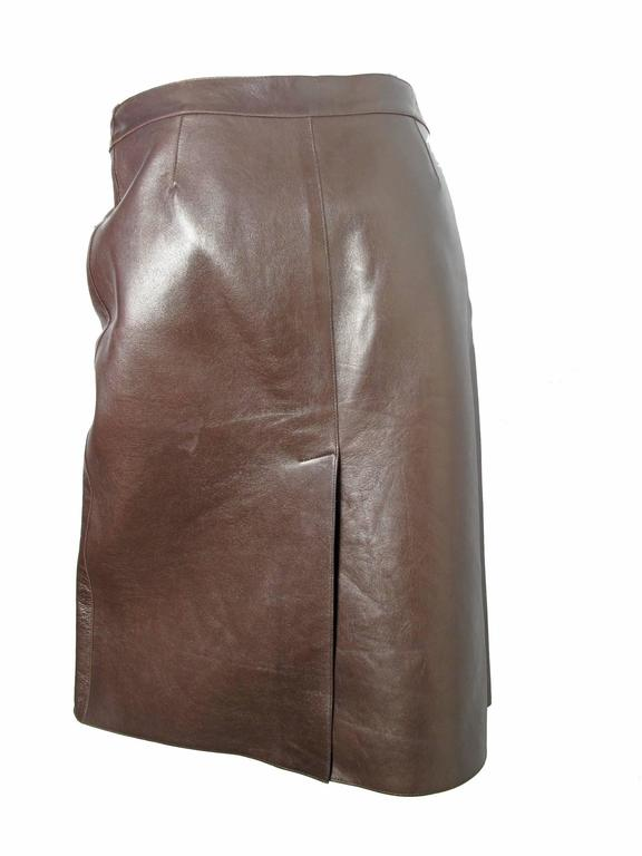 Women's Prada Brown Leather Skirt For Sale