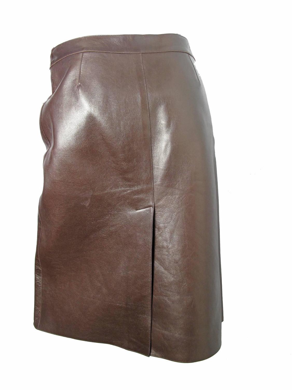 prada brown leather skirt for sale at 1stdibs