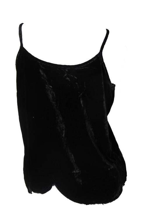 Comme des Garcons Black Velvet Tank with Distressed Edge In Excellent Condition For Sale In Austin, TX