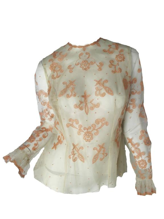 Sybil Connolly Lace Blouse and Pleated Irish Linen Skirt, 1960s Couture For Sale 1