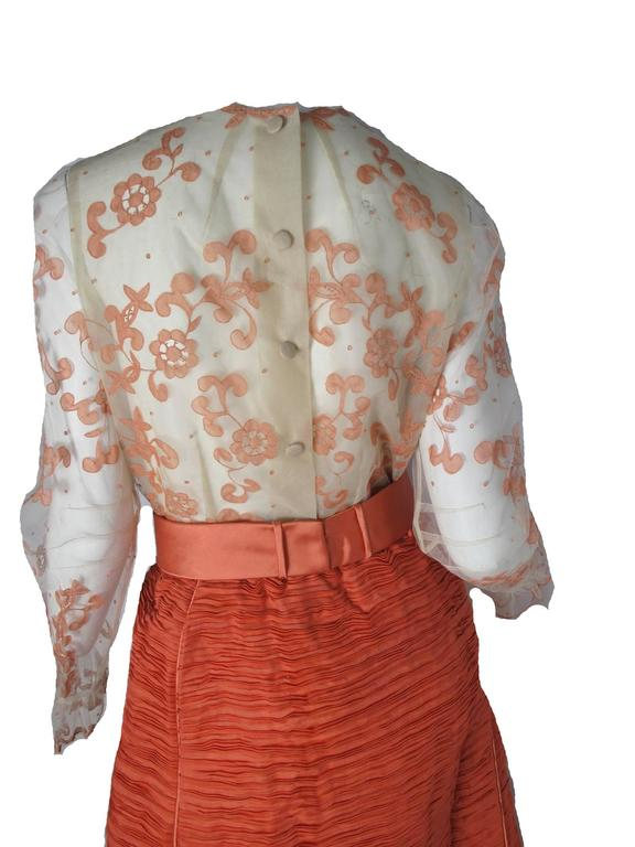Sybil Connolly Lace Blouse and Pleated Irish Linen Skirt, 1960s Couture For Sale 2