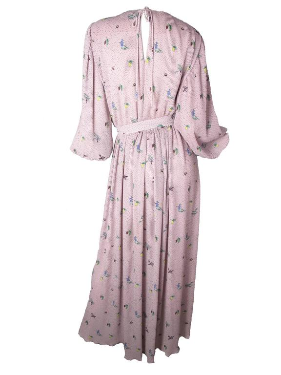 Gray Hanae Mori Pleated Gown with Witch, Fruit & Airplane Print For Sale