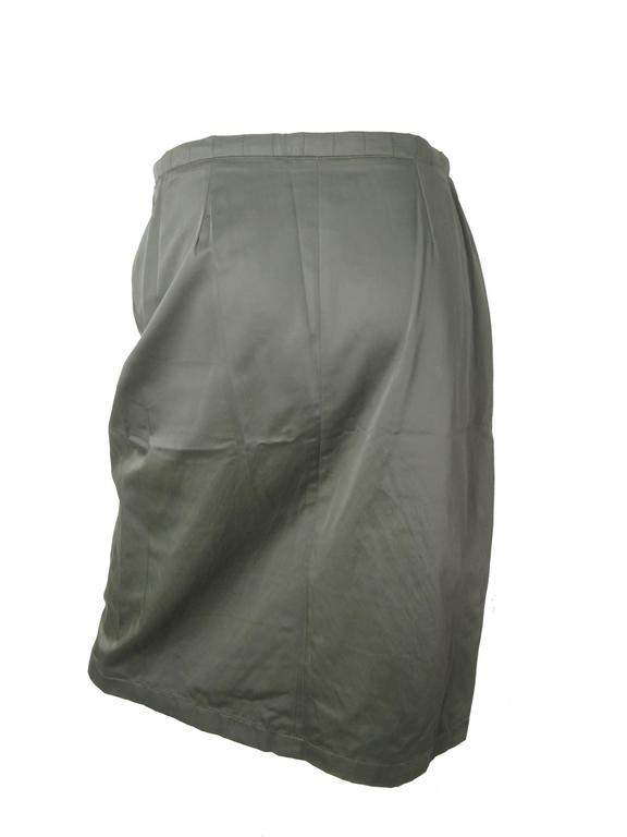 Chanel Army Green Quilted Skirt 4
