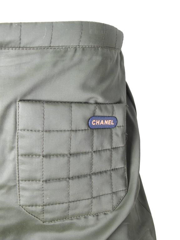 Chanel Army Green Quilted Skirt 2