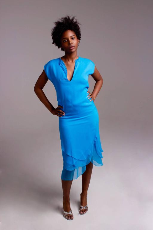 Giorgio di Sant' Angelo bright blue tiered dress For Sale 2