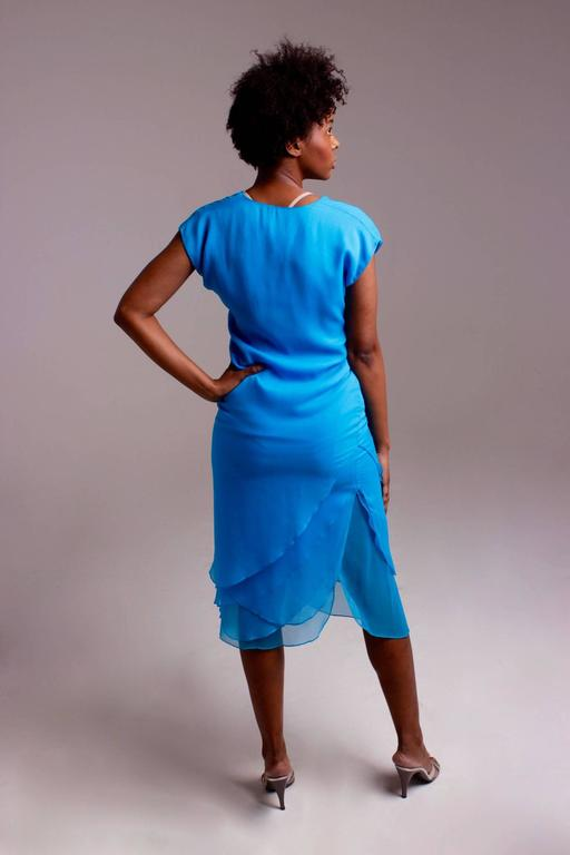 Giorgio di Sant' Angelo bright blue tiered dress For Sale 3