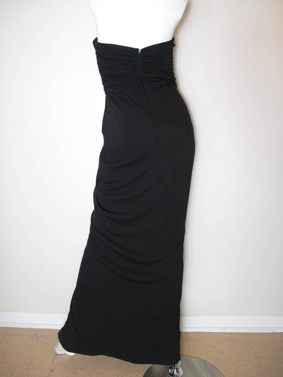 Black Vicky Tiel Strapless Evening Gown For Sale
