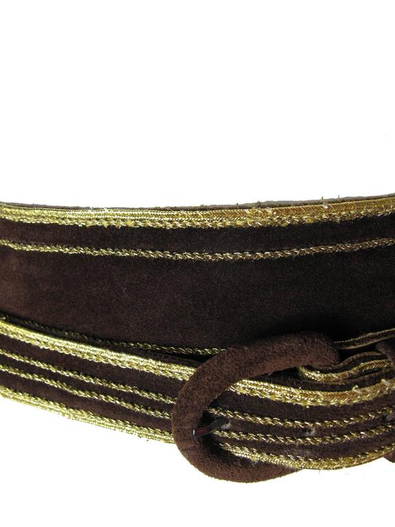 Black Late 70s - Early 80s Yves Saint Laurent Brown Suede Wrap Waist Belt For Sale