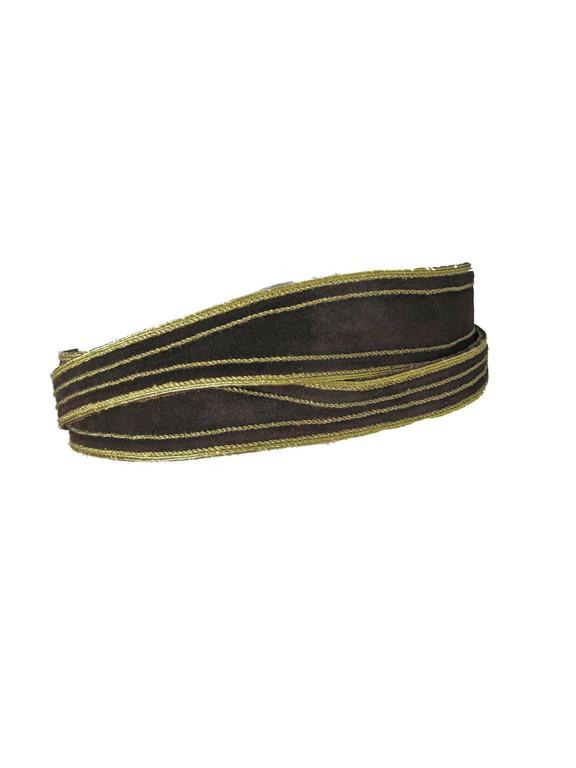 1970s - 1980s Yves Saint Laurent brown suede wrap waist belt with gold trim.  2