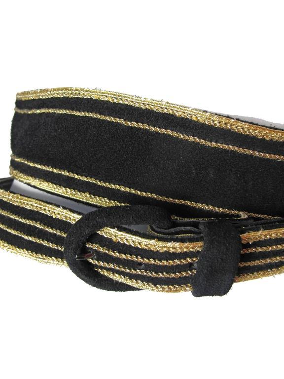 Black Yves Saint Laurent Suede Double Wrap Waist Belt For Sale