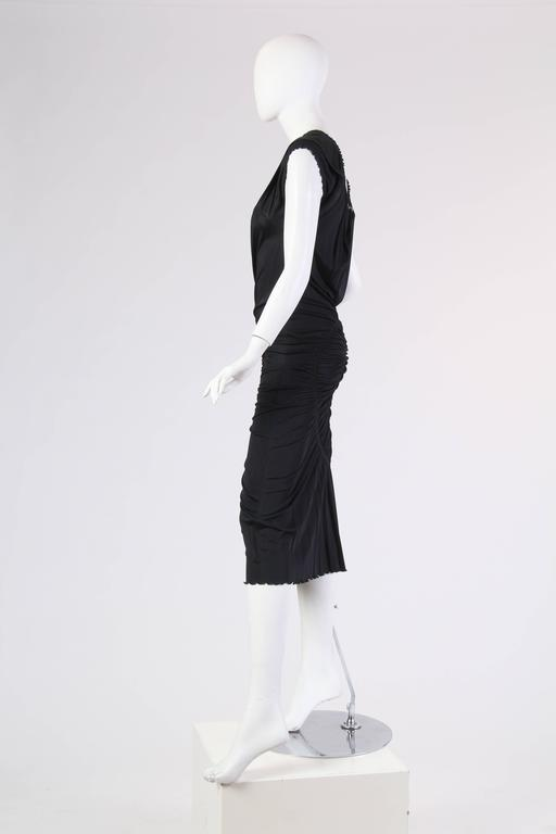 1990S JEAN PAUL GAULTIER Black Jersey Cocktail Dress With Spiral Ruching NWT For Sale 1
