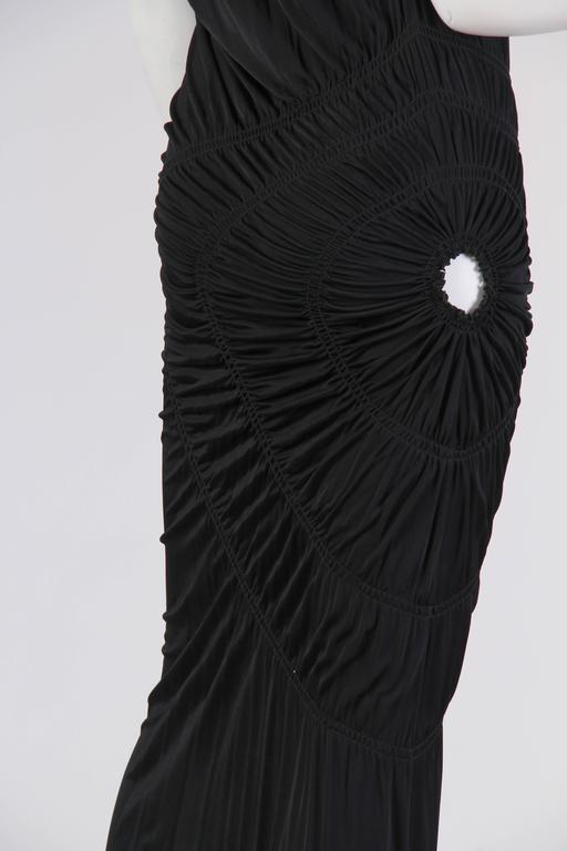 1990S JEAN PAUL GAULTIER Black Jersey Cocktail Dress With Spiral Ruching NWT For Sale 3