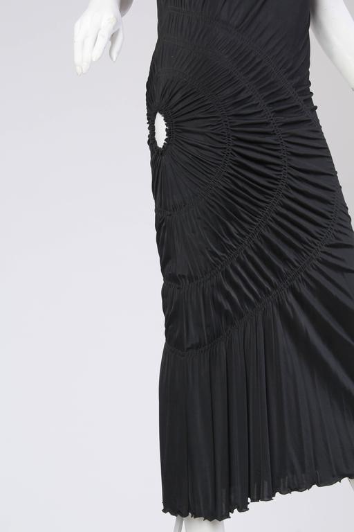 1990S JEAN PAUL GAULTIER Black Jersey Cocktail Dress With Spiral Ruching NWT For Sale 2