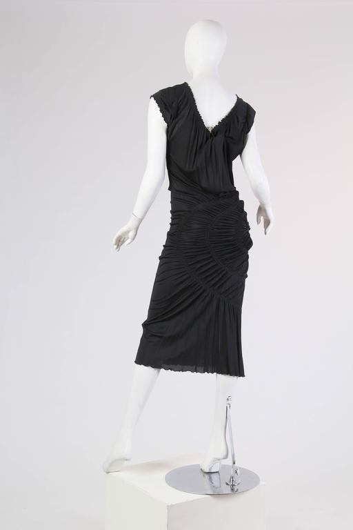 1990S JEAN PAUL GAULTIER Black Jersey Cocktail Dress With Spiral Ruching NWT In Excellent Condition For Sale In New York, NY