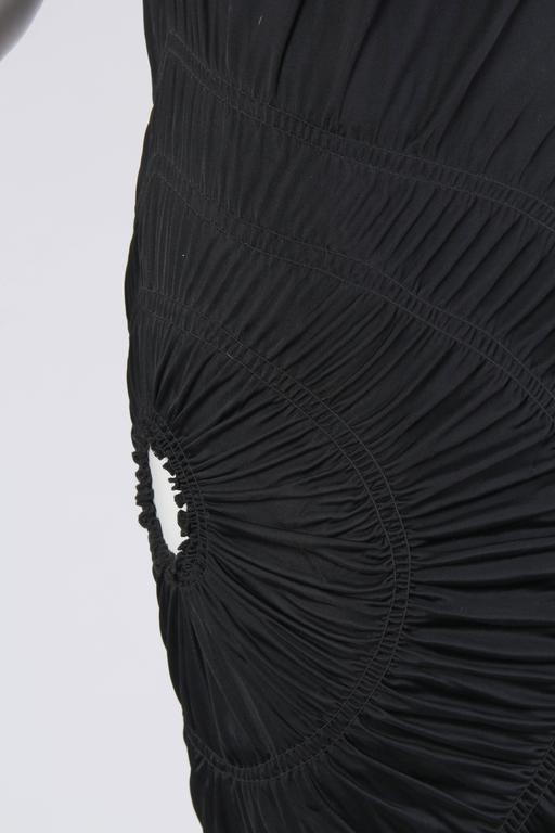 1990S JEAN PAUL GAULTIER Black Jersey Cocktail Dress With Spiral Ruching NWT For Sale 5