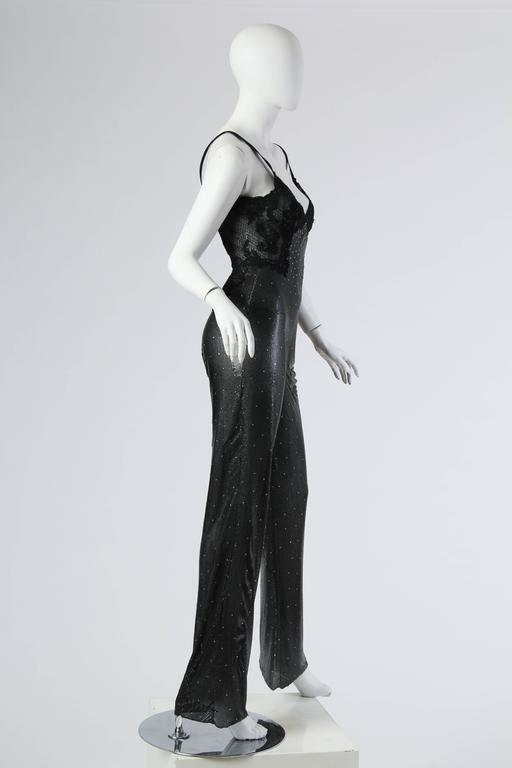 Gianni Versace Couture Metal Mesh and Lace Jumpsuit with Crystals 3