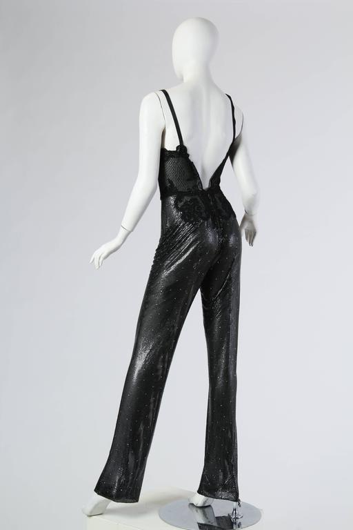 Gianni Versace Couture Metal Mesh and Lace Jumpsuit with Crystals 4
