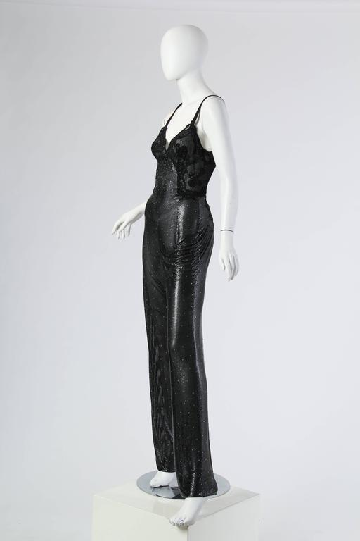 Gianni Versace Couture Metal Mesh and Lace Jumpsuit with Crystals 2