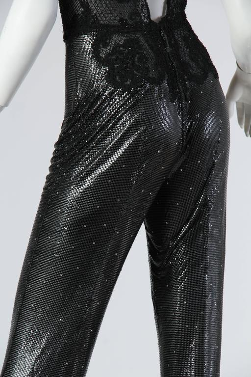Gianni Versace Couture Metal Mesh and Lace Jumpsuit with Crystals 6