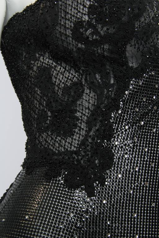 Gianni Versace Couture Metal Mesh and Lace Jumpsuit with Crystals 8